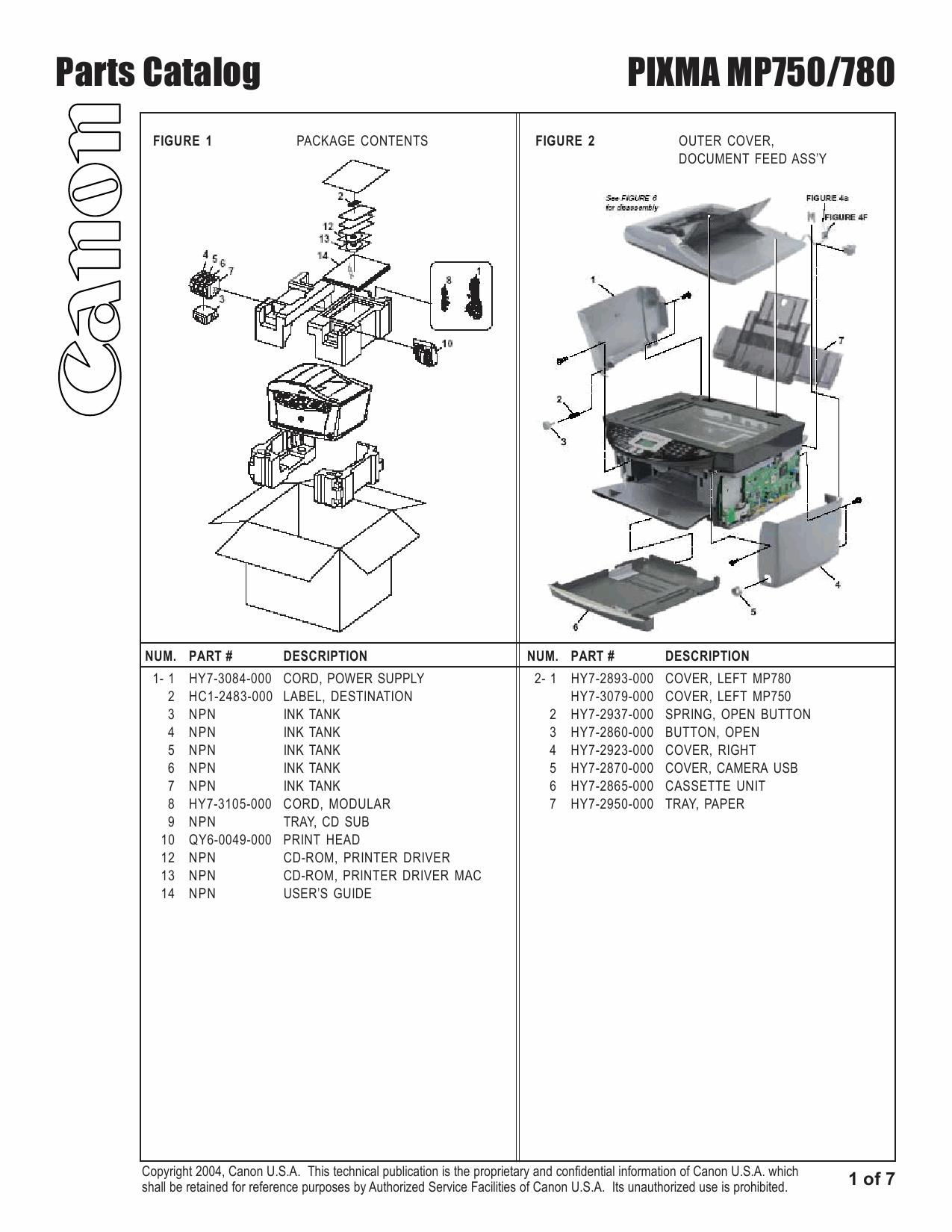 Canon PIXMA MP750 MP780 Part Catalog-2